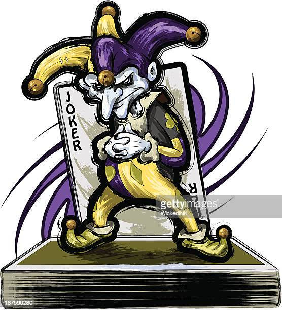 joker standing on a deck of cards - joker card stock illustrations, clip art, cartoons, & icons