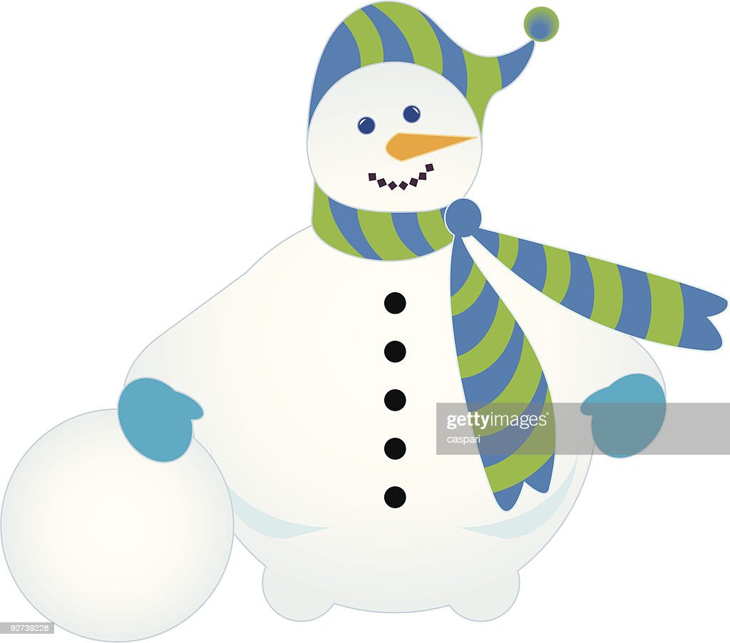 Jolly snowman with snowball