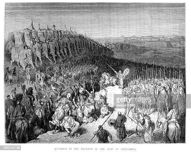 jonathan and the army of apollonius - old testament stock illustrations