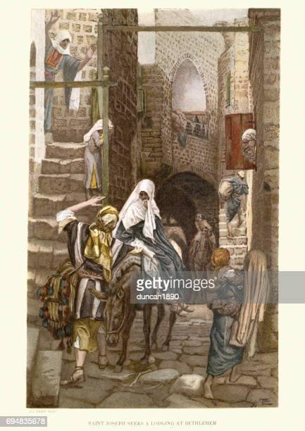 illustrazioni stock, clip art, cartoni animati e icone di tendenza di joseph and mary seeking lodging at bethlehem - san giuseppe