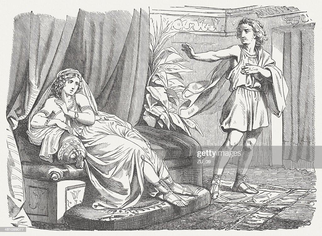 Joseph and Potiphar's Wife (Genesis 39), wood engraving, published 1877 : Stock Illustration