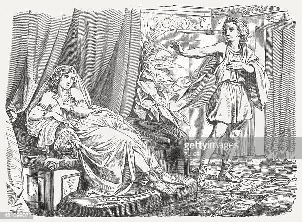 ilustraciones, imágenes clip art, dibujos animados e iconos de stock de joseph y potiphar's wife - ehefrau