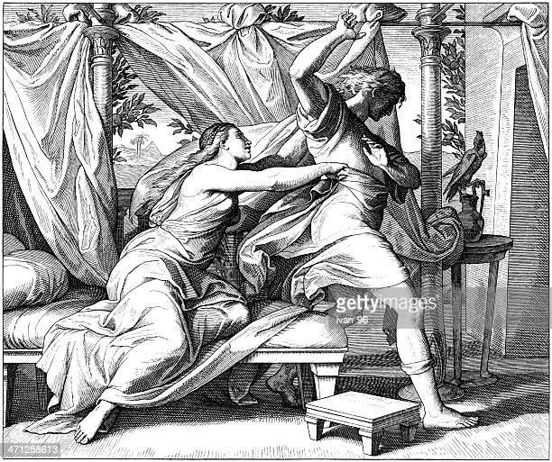 ilustraciones, imágenes clip art, dibujos animados e iconos de stock de joseph y esposa de potiphar - los siete pecados capitales