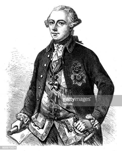 joseph ii (1741-1790), holy roman emperor - hapsburg dynasty stock illustrations