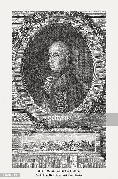 joseph ii (1741-1790), holy roman emperor, wood engraving, published 1884 - lorraine stock illustrations, clip art, cartoons, & icons