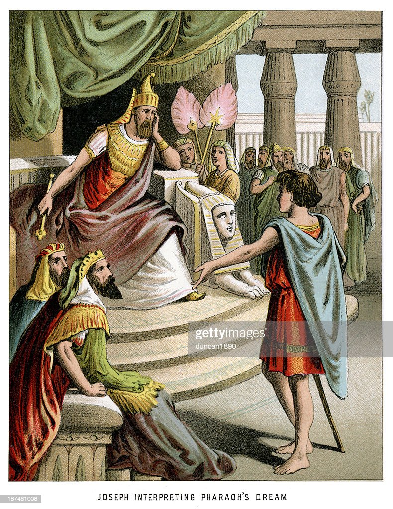 Joseph interpreting pharaoh's dream : Stock Illustration