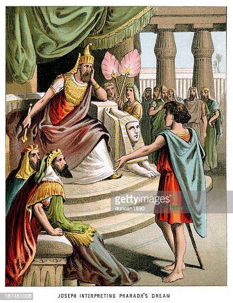 ilustrações, clipart, desenhos animados e ícones de joseph interpretação faraó's dream - egito