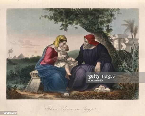 joseph, mary and baby jesus, repose in egypt - joseph husband of mary stock illustrations