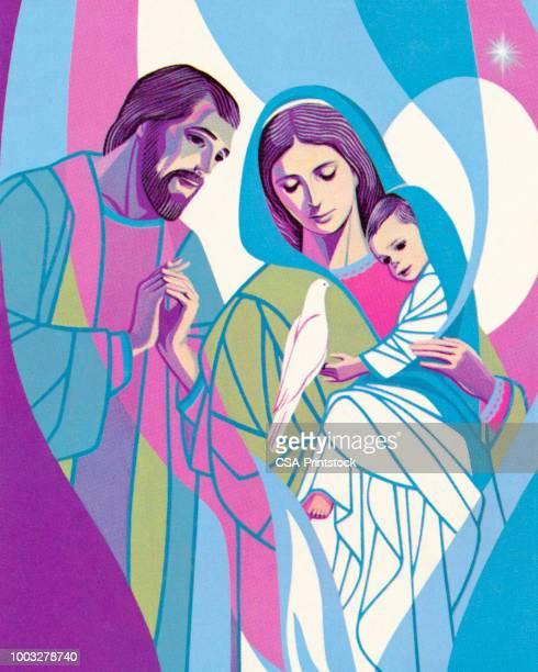 joseph, mary, and jesus - virgin mary stock illustrations