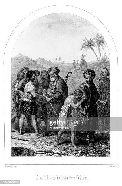 joseph sold by his brothers - 1840 1849 stock illustrations