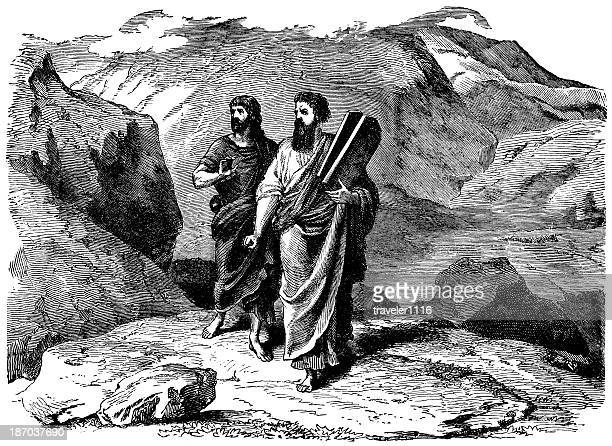 joshua and moses carrying the law - joshua laws stock illustrations