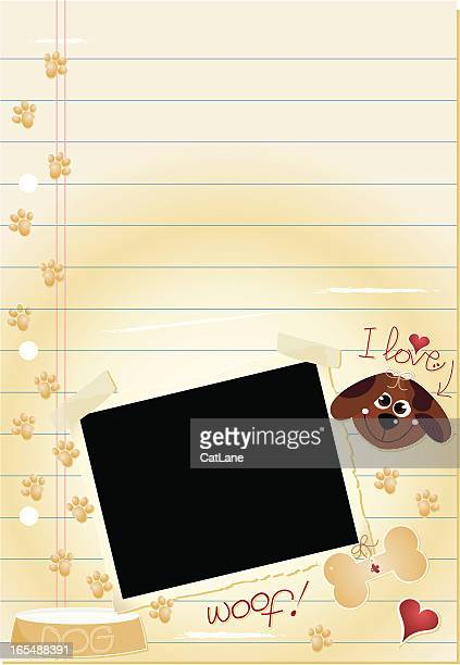 journal page -  i love dogs - dog bowl stock illustrations, clip art, cartoons, & icons