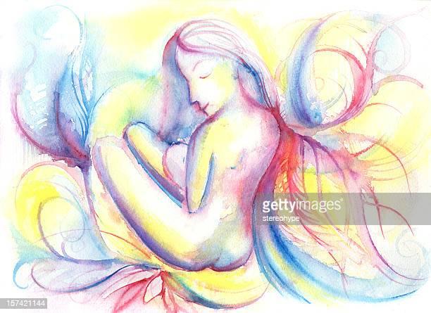 ilustraciones, imágenes clip art, dibujos animados e iconos de stock de placeres de la maternidad - lactancia materna
