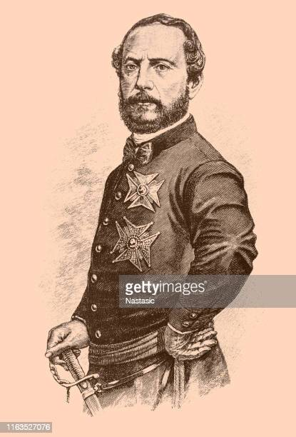 juan prim (1814-1870). spanish politician and military general - general military rank stock illustrations