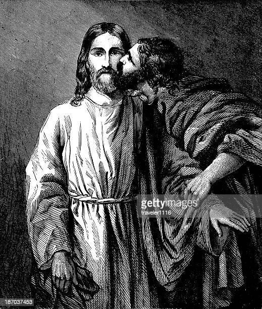judas and jesus - judas iscariot stock illustrations