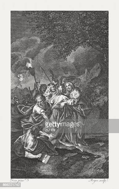 judas betraying christ (luke 22, 47), copperplate engraving, published 1774 - arrest stock illustrations, clip art, cartoons, & icons