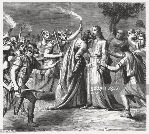 judas betrays jesus (luke 22, 47-48), wood engraving, published 1886 - arrest stock illustrations, clip art, cartoons, & icons