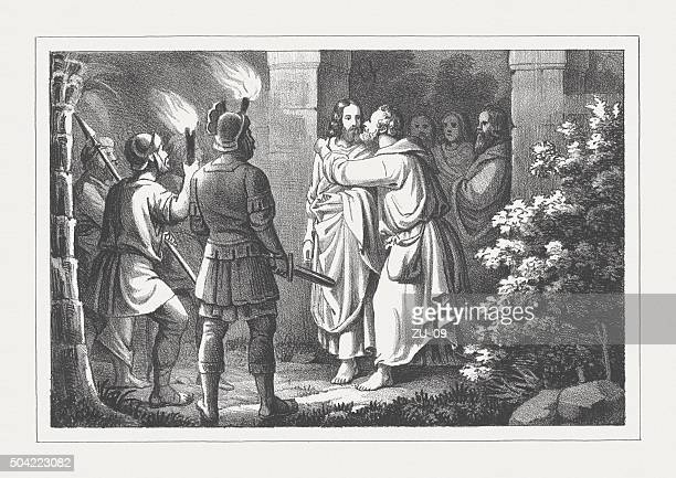 judas iscariot betrays jesus, lithograph, published in 1850 - judas iscariot stock illustrations