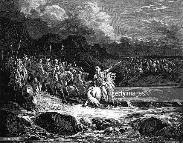 judas maccabeus and the soldiers - old testament stock illustrations