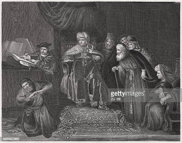 judas returning the thirty pieces of silver, steel engraving, 1836 - judas iscariot stock illustrations