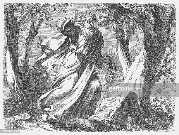 judas suicide (matthew 27, 3-5), wood engraving, published 1877 - judas iscariot stock illustrations