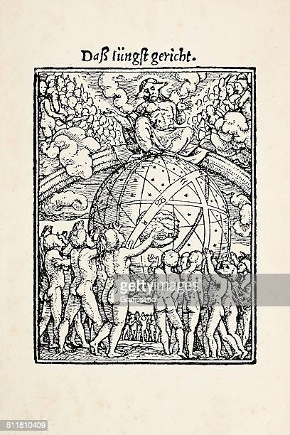 judgement day from dance of death after holbein - tarot cards stock illustrations, clip art, cartoons, & icons