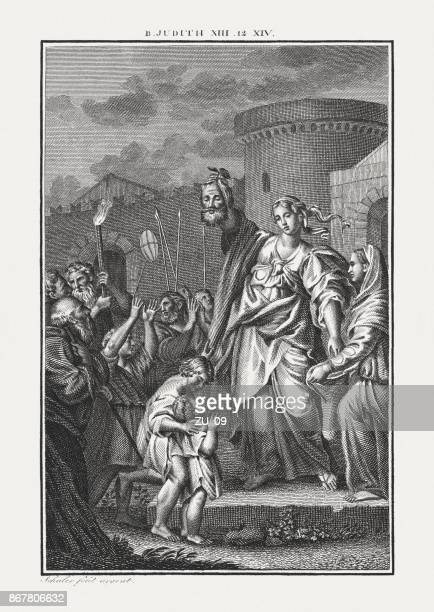 judith exposing the head of holofernes (judith 13), published c.1850 - ancient babylon stock illustrations