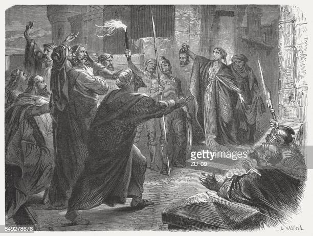 judith shows the head of holofernes (judith 13), published 1886 - ancient babylon stock illustrations