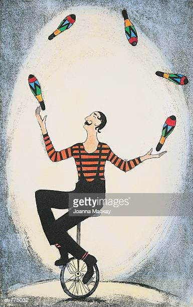 juggler riding a unicycle and juggling - unicycle stock illustrations, clip art, cartoons, & icons