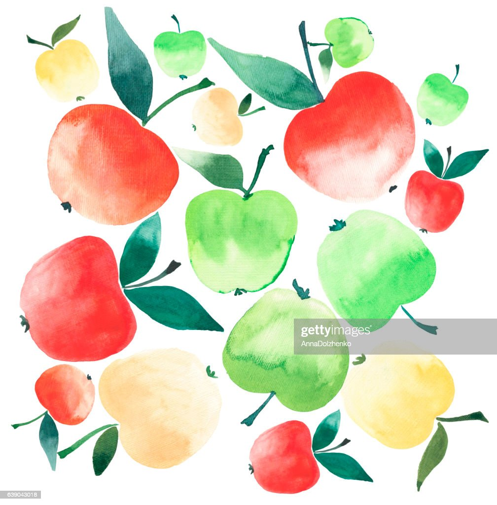 Juicy Ripe Apples Red Yellow And Green Colors Watercolor Sketch ...