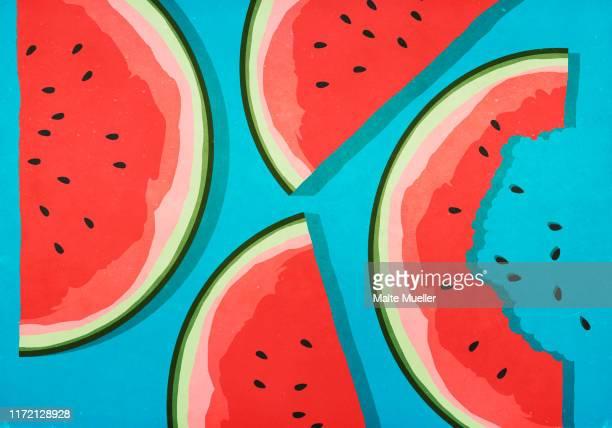 illustrations, cliparts, dessins animés et icônes de juicy watermelon slices on blue background - pastèque