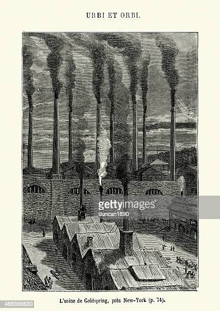 jules verne - factory at coldspring, near new york - industrial revolution stock illustrations
