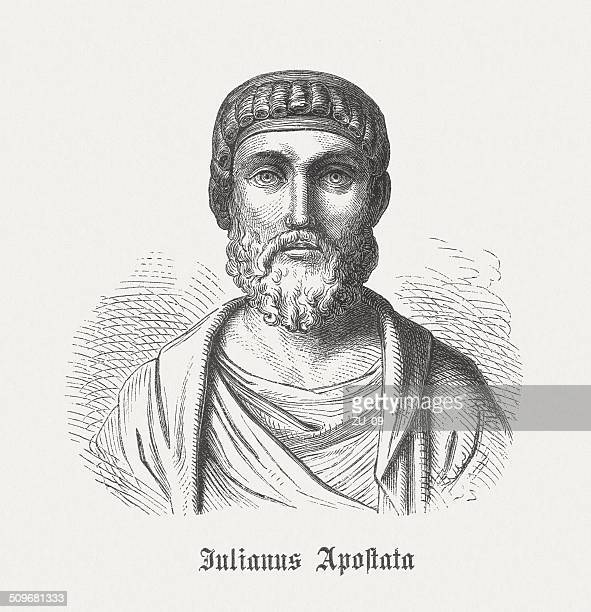julian the apostate (331-363), roman emperor, wood engraving, published 1864 - emperor stock illustrations