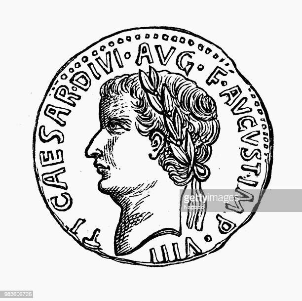 julius caesar coin - relief carving stock illustrations