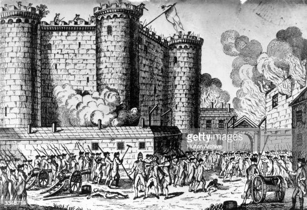 The governor of the Bastille being led away as the prison is stormed at the start of the French revolution.