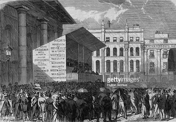 Nomination day in Covent Garden during the Westminster election of 1865.