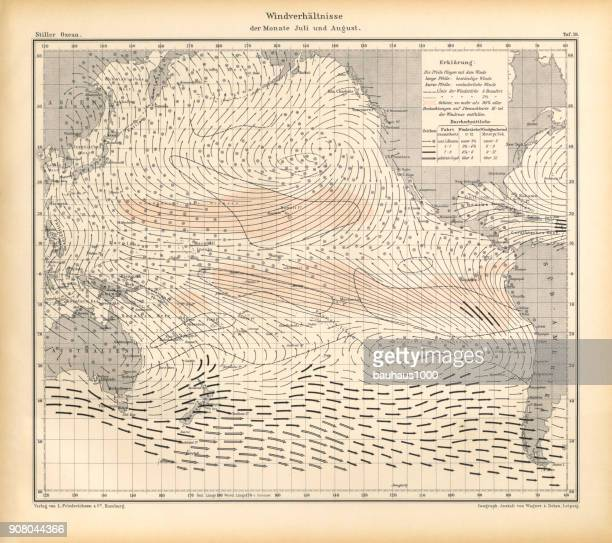 July and August Wind Patterns and Conditions Chart, Pacific Ocean, German Antique Victorian Engraving, 1896