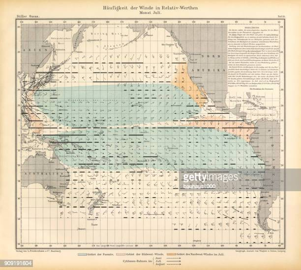 July Frequency of Winds in Relative Values Chart, Pacific Ocean, German Antique Victorian Engraving, 1896