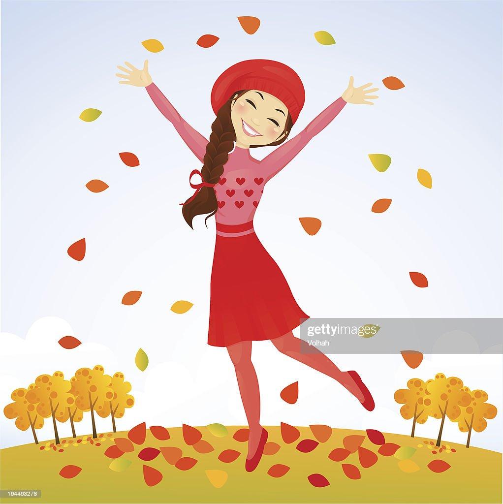 Jumping autumn girl