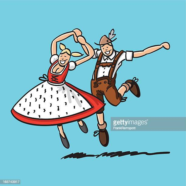 jumping bavarian dancer couple - traditional clothing stock illustrations