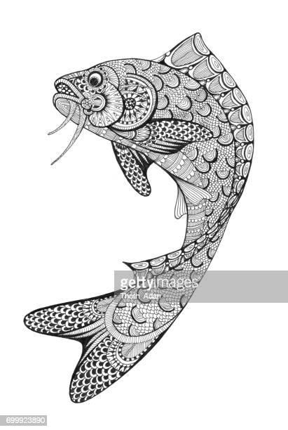 illustrations, cliparts, dessins animés et icônes de saut de poisson doodle dessin - carpe