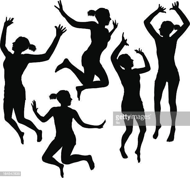 ilustrações de stock, clip art, desenhos animados e ícones de menina saltar de - capoeira