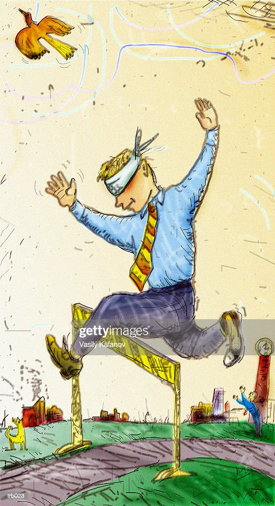 Jumping Hurdle with Blindfold : Stockillustraties
