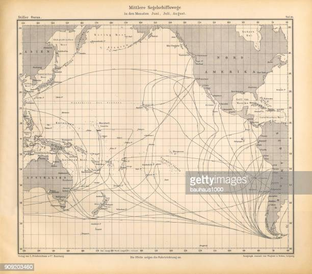 June, July and August Sailing Ship Routes Chart, Pacific Ocean, German Antique Victorian Engraving, 1896