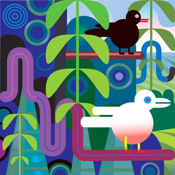 Jungle Vector Illustration With Birds, Trees, Landscape Wall Art
