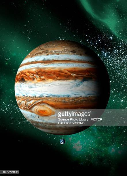 jupiter and earth, artwork - victor habbick stock illustrations