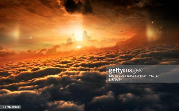 jupiter's cloud tops, illustration - jupiter planet stock illustrations