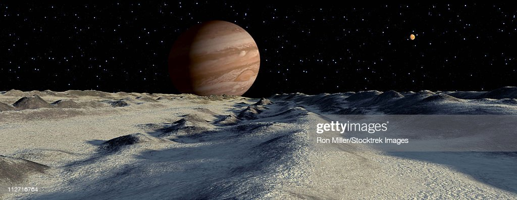 Jupiter's large moon, Europa, is covered by a thick crust of ice above a vast ocean of liquid water. This crust will often pile up in long ridges as floes crash into one another. : Stock Illustration