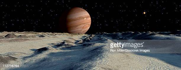 jupiter's large moon, europa, is covered by a thick crust of ice above a vast ocean of liquid water. this crust will often pile up in long ridges as floes crash into one another. - エウロパ点のイラスト素材/クリップアート素材/マンガ素材/アイコン素材