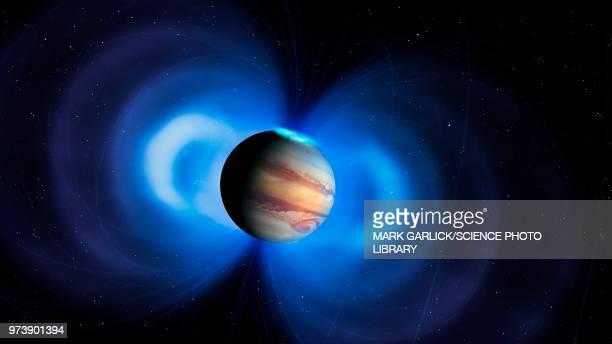 jupiter's magnetosphere, illustration - jupiter planet stock illustrations